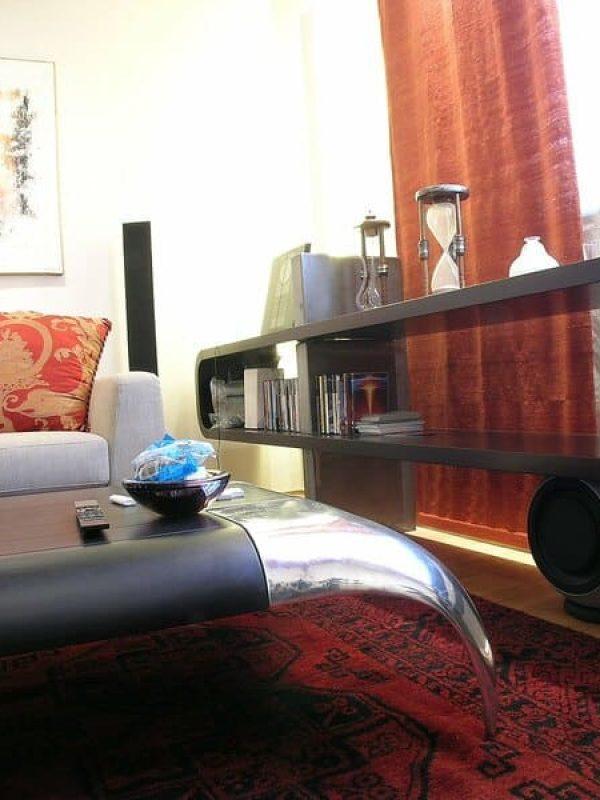 salotto vista mobile su misura in legno vengo e ferro naturale